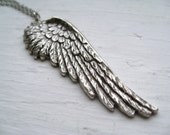 gaurdian angel necklace, large feather wing stamping charm necklace, whimsical gothic pendant, antique silver brass, cute jewelry gift idea