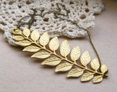 helen of troy necklace, large leafy branch charm necklace, tree leaf necklace, forest pendant, antique and raw brass, cute jewelry gift