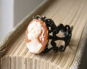 victorian lady. ring. (peach, cream, ivory lady cameo. antique brass ornate filigree. adjustable band.)