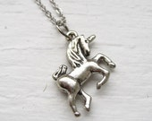 my little unicorn necklace, mythology charm necklace, dangle necklace, fantasy fairy tale pendant, antique silver brass, cute jewelry gift