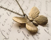flutterby (v. II) necklace, butterfly insect charm necklace, dangle necklace, woodland animal pendant, antique brass, cute jewelry gift
