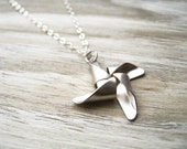 pinwheel necklace, childhood toy charm necklace, whimsical pendant, antique silver brass, cute mothers day jewelry gift idea