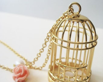 i know why the caged bird sings. necklace. raw brass birdcage charm. custom length chain. cage pendant. pink rose. white pearl. cute gift.