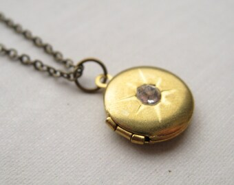guardian necklace, working round locket charm necklace, dangle necklace, romantic pendant, antique brass, cute jewelry gift