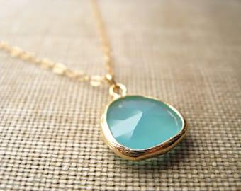 desdemona. necklace. 16k gold plated glass charm. custom length chain. aqua blue green pendant. colorful. whimsical. cute gift idea.