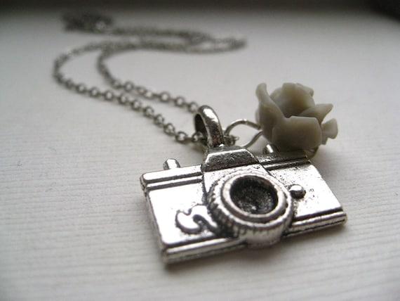 the photographer. necklace. silvertone brass camera charm. custom length. gray grey rose. cute photography gift idea.