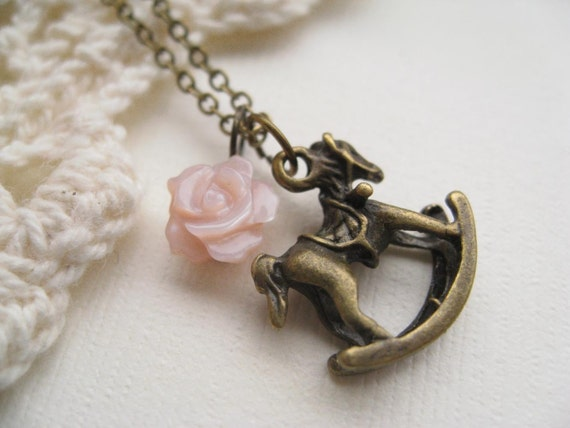 my daughter. necklace, rocking horse baby charm necklace, dangle necklace, pink mother of pearl rose, antique brass, cute jewelry gift idea