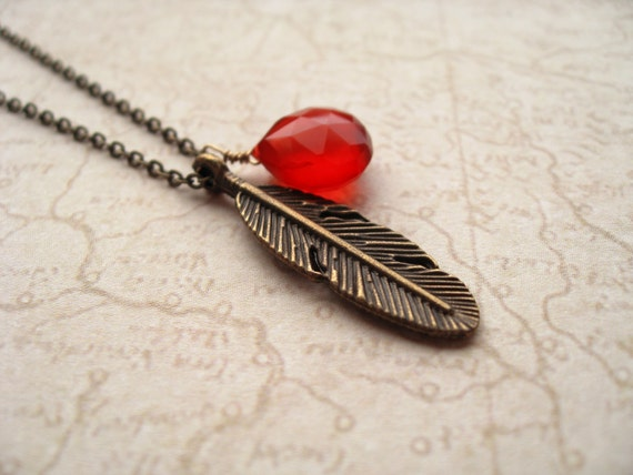 bury my heart. necklace. (antique brass feather charm. deep orange red chalcedony gemstone. wire wrapped teardrop briolette)