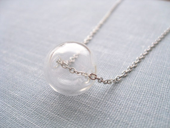 blowing bubbles. necklace, glass round bead charm necklace, clear hollow ball pendant, antique silver brass, cute jewelry gift idea