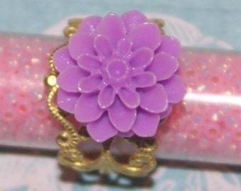 Purple Dahlia Ring - Adjustable Ring - Flower Ring- - Gold Filigree Ring