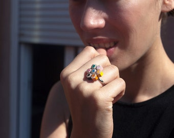 Rainbow lapicitos ring