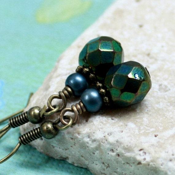 Green Fire Polished Czech Glass Bead Earrings - CLEARANCE SALE - A.76