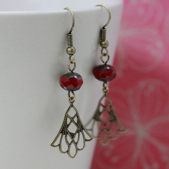 Red Czech Glass Bead Earrings - CLEARANCE SALE - A.102