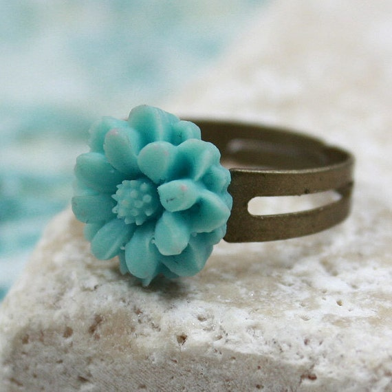 Turquoise Resin Cabochon Ring - CLEARANCE SALE - R.59