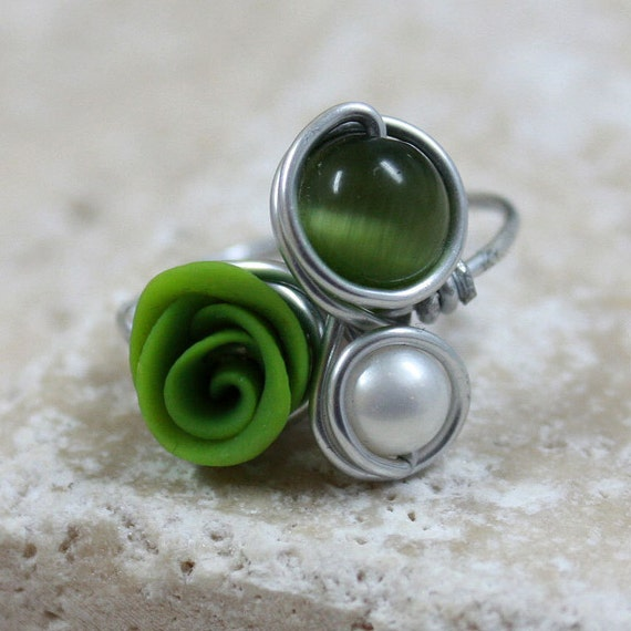 Green and White Alluminium Ring - CLEARANCE SALE - R.120