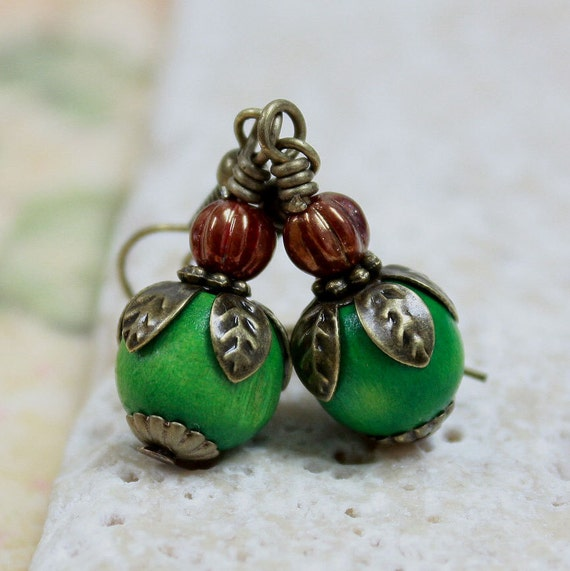 Green Wooden Bead Earrings - CLEARANCE SALE - A.575