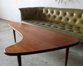Mid Century Danish Modern Teak Boomerang Coffee Table - Mad Men Furniture - Danish Modern Coffee Table