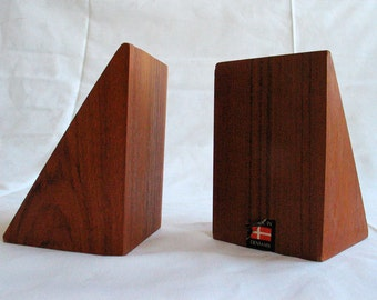 MOD-SALE! Danish Modern Teak Bookends 1960s Made in Denmark Wegner era mid century modern bookends