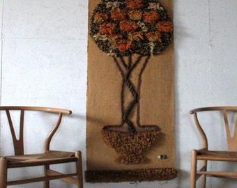 Retro Huge Tree of Life Yarn Art Wall Hanging 1970s mod Textile Eames Era Wall Hanging Tapestry