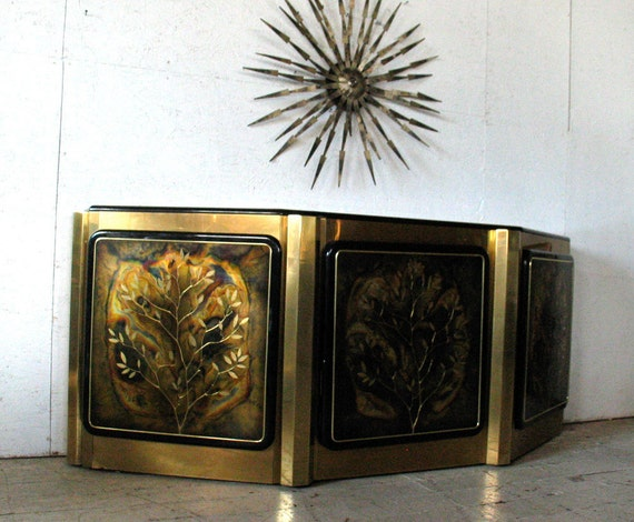 RESERVED FOR customer: john amos (jwamii) Bernhard Rohne Buffet Credenza Brass Acid Etched Tree of Life Bufffet hollywood regency