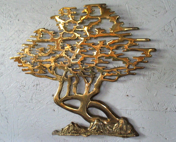 Brass Bonsai Tree Wall Sculpture Hollywood Regency Abstract