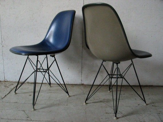 Pair Herman Miller  Blue Grey Shell Chairs - Eames Fiberglass chairs   Eiffel Wire Base  - vintage herman miller chairs