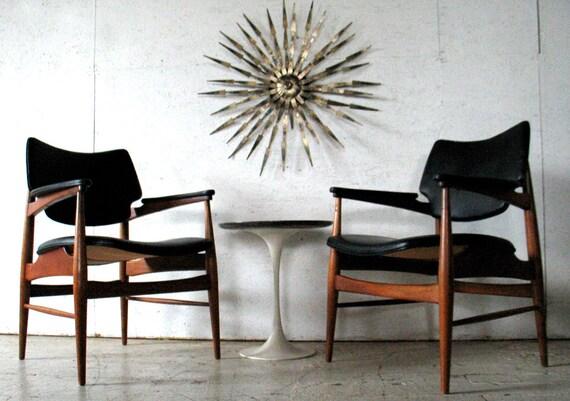 RESERVED Pair Mid Century Danish Modern Teak Lounge / Arm Chairs - Vodder Wegner Juhl era - mid century modern furniture