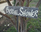 Rustic Wood Wedding Sign on Stake Bridal Shower Directional Arrow