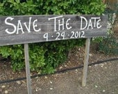 Extra Large Save the Date Personalized Name Wedding Sign on Two Stakes Barn Wood Rustic Customized
