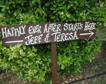 Personalized Your Name on Wood Wedding Sign on Stake Happily Ever After Starts Here Directional Arrow