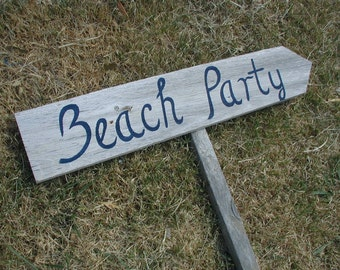 Barn Wood Beach Party Script Lettering Wedding Sign With Stake Western Rustic Bridal Directional Arrow