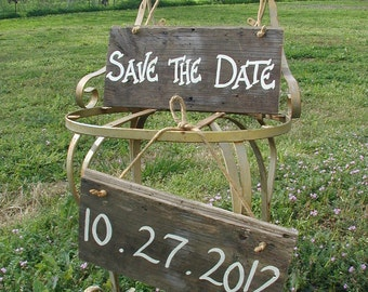 Wood Wedding Hanging Sign Country Rustic Save the Date Engagement Photo Prop