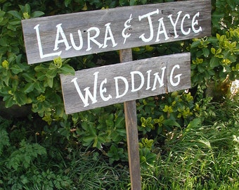Personalized Name Wedding Sign on Stake Rustic Western Bridal Directional Barn Wood