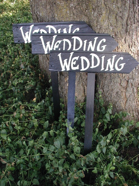 Set of 3 Rustic Wood Black Wedding Directional Stake Signs  Bridal With Arrow