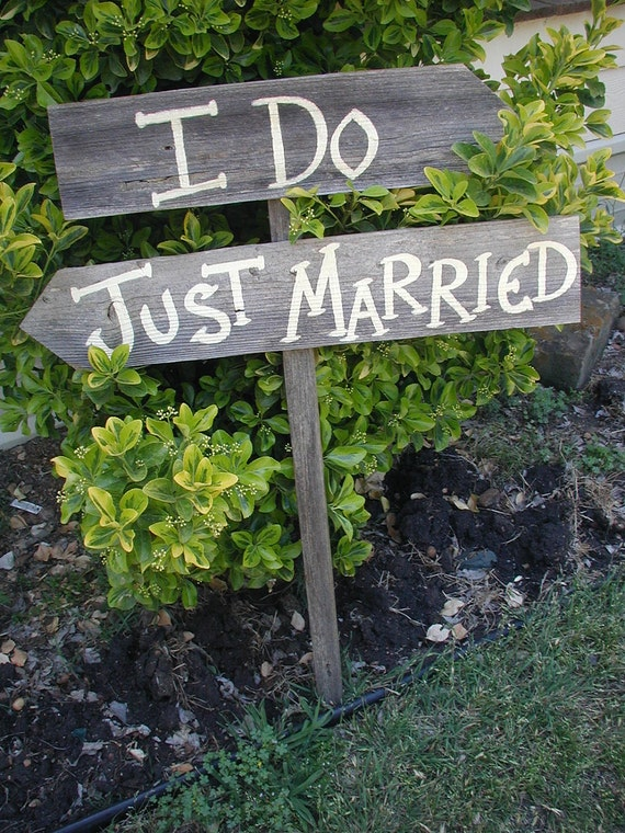 I Do Just Married Wedding Sign on Stake Rustic Western Bridal Reception Directional