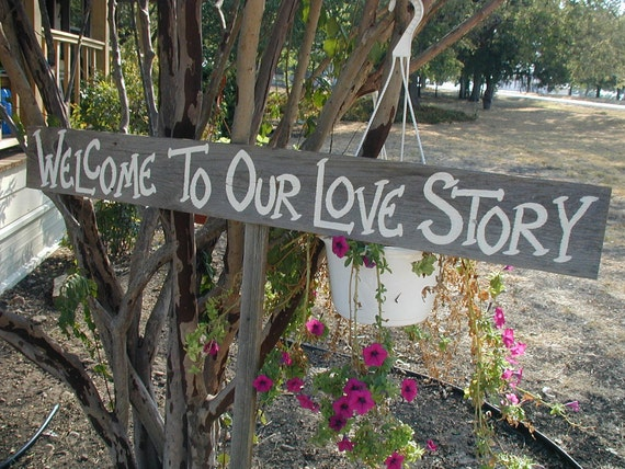 Rustic Wood Wedding Sign on Stake Welcome to Our Love Story