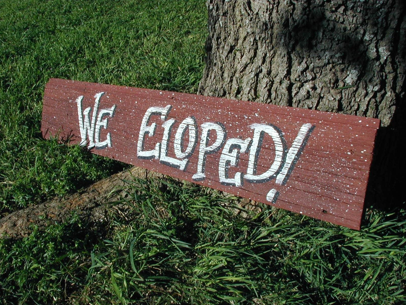 We Eloped Wedding Bridal Signs Rustic Western by craftmarttexas