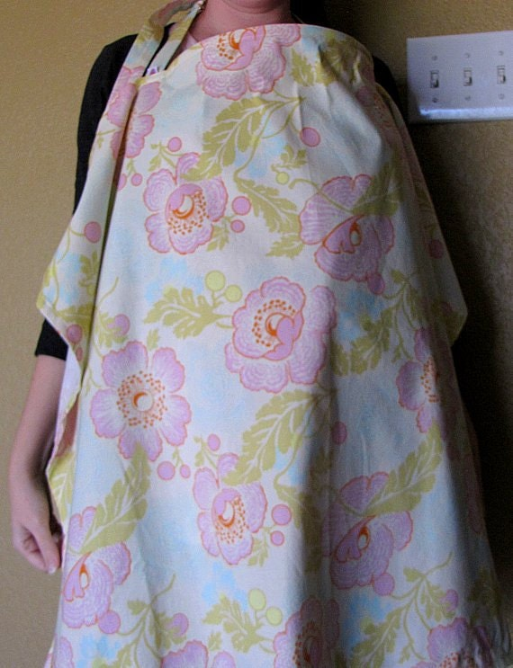 Extra Large Nursing Cover - Amy Butler Midwest Modern Fresh Poppies