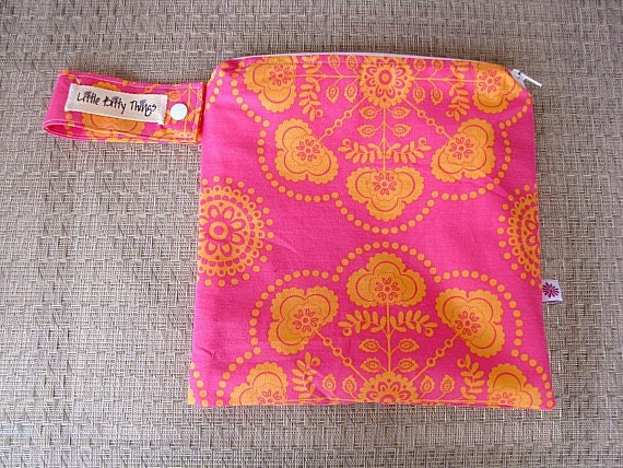Small Wet Bag - Michael Miller Ooh La La Cercle De Fleurs Sherbet Pink