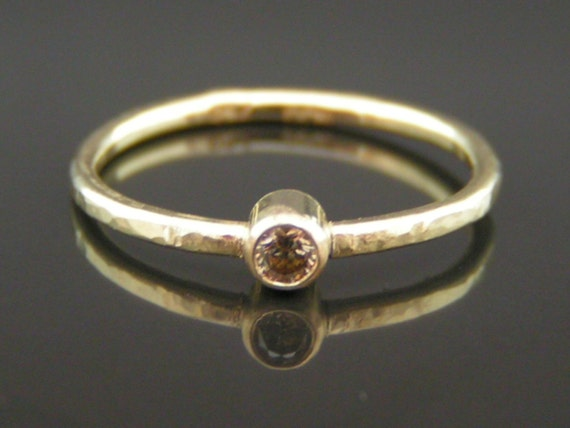 Champagne diamond hammered gold ring, gold stacking rings