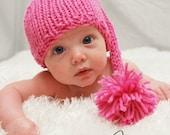 Baby Elf Hat, Knit Baby Hat, Newborn Baby Pink Elf Hat, Baby Photography Prop
