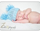 Newborn Hat: Baby Hat with Pom Poms Pastel Blue - Great Photography Prop