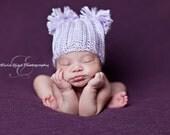 Newborn Baby Hat Photography Prop Purple Pom Pom Hat
