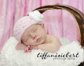 Newborn Baby Hat with Rosette - Pastel Pink with White Rosette or Choose your own Colors - Photography Prop