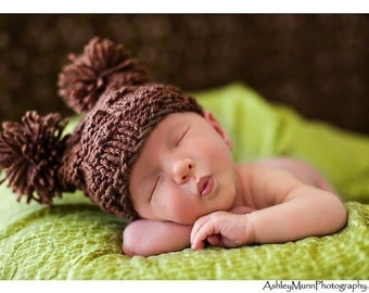 Baby Hat- Newborn Hat- Brown or Choose your own Color- Mr.Checker Head, Photography Prop