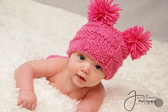 Little Miss Checker Head---- Hand Knit Newborn Hat---0-3months--Choose from Pink or White
