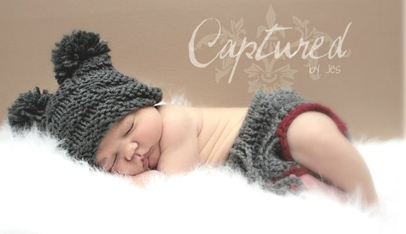 Baby Hat - Newborn Hat - Grey or Choose your own Color - Photography Prop - Mr. Checker Head - Super Cute Photography Prop