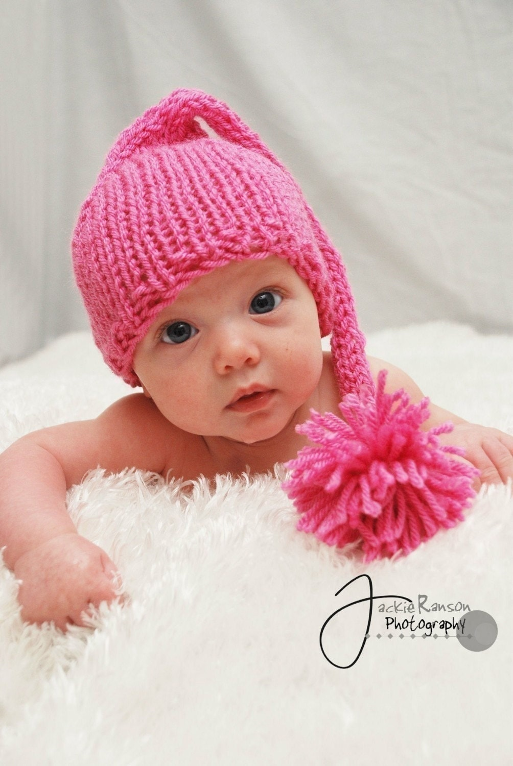 Knitting Patterns For Baby Elf Hats : Baby Elf Hat Knit Baby Hat Newborn Baby Pink Elf Hat Baby