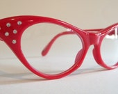 Retro Cats Eye Glasses -Meow- Fire Hot Red and Rhinestones