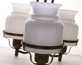 Hollywood Regency . Ceiling Chandelier . Milk Glass Globes . Rustic Industrial Chic . RESERVED FOR dawsonlisa